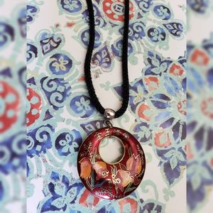 Cloisonne Koi Red Pendant on Black Rope Necklace